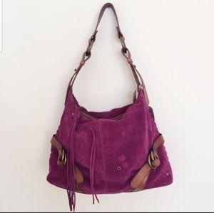 Lucky Brand Leather Suede boho handbag purse tote